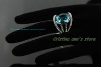 2014 Fashion Exaggerated Big Blue Rhinestones Ring 18K Plated Silver  Austria Crystal Ring Top Quality