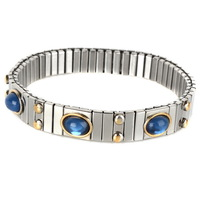 Blue Crystal Jewelry Bangle Stainless Steel Silver Plated Polished Vetro Box Chain Elastic Bracelets Bangles for Women Girl