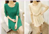 Free Shipping New 2014 dress women chiffon dresses bodycon loose A type long sleeve base summer dresses#5789