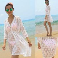 Free shipping Summer Women Semi Sheer Lace Embroidery Long Sleeve Blouse Cardigan Outerwear Beach Dress Bikini Cover Ups