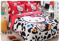 12 designs hello kitty bedding set queen size 4pc bedclothes kids/children comforter set duvet cover bed set