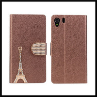 Diamond tower leather wallet stand case cover for sony xperia z1 l39h phone with 4 colors 100 pcs / lot +   free shipping