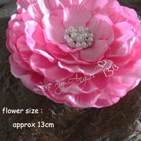 "1 pcs New 5.2"" Large pink satin fabric flower handmade Hair Accessory satin peonies wedding flower girl flower flat back"