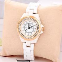 Watches Ceramic Bracelet With Diamond Fashion Charm Style Rhinestone Women Rose Gold Luxury For Ladies, Free Shipping