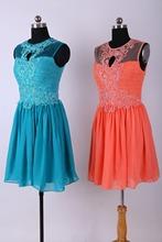 Coral Bridesmaid Dress/2014 Hot sale Short Party Dress/Short Bridesmaid Dress Cheap Dress Under $100 2014 Free Shipping(China (Mainland))
