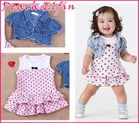 2014 Pink Heart Print 2Pcs Kids Clothing Set Baby Girls Tank Dress+Top 2 Piece Suit Winter Infant Beach Denim Waistcoat Outfits