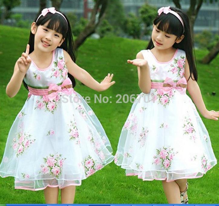 New Summer Children Dress Princess Dress Big Swing Roses(China (Mainland))