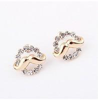 YXSP1568       2014 new fashion   Round diamond mustache   earring for women