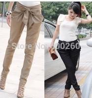 2013 high waist women's Skinny Long Trousers OL casual Bow harem pants plus size Black, Khaki Free shipping#5823