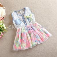 Hot Sell New 2014 Summer Princess Girls Dress Brand Children's Jeans Dresses Top Quality Cute Girl Dress Kids Clothing 4pcs /lot