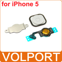 100% Brand New Bracket Holder + Flex Cable + White Home Menu Button Key Cap for Apple iPhone 5 5G iPhone5