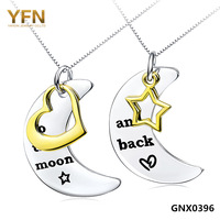 """GNX0396 Free Shipping Unique Design Jewelry Genuine 925 Sterling Silver Heart & Star Pendant Necklace for Lovers with 18"""" Chain"""