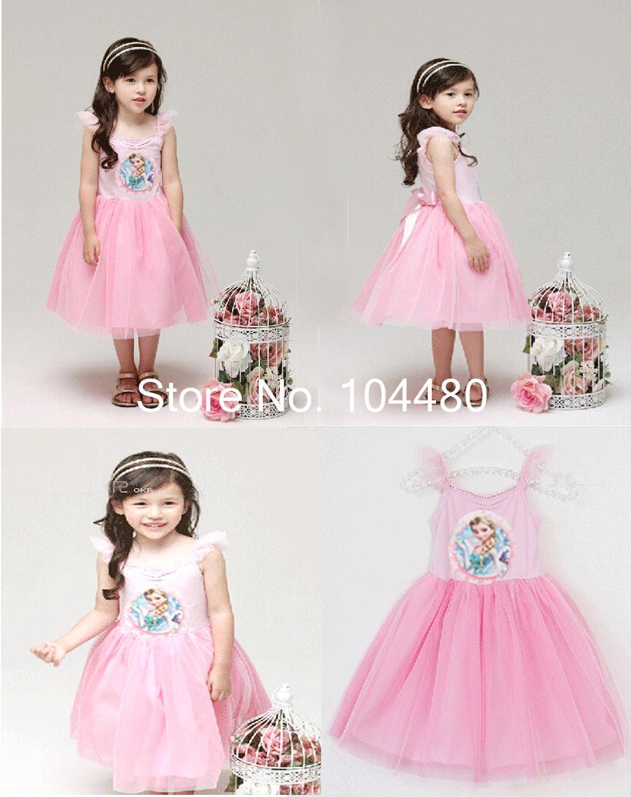 2014 baby kids fashion Frozen princess elsa girls dress,new summer sleeveless spaghetti strap ball gown mini dress(China (Mainland))