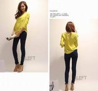 2014 New Korean women's round neck double stitching loose chiffon shirt pocket Chiffon Quarter Sleeves T-shirt Top Plus Size
