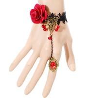 Fashion Gothic Lace Bracelet Red Roses Sexy Lace Bracelet  Vampire Jewelry BJB9117