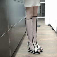 2014 New Fashion Knee Length Summer Boots Peep Toe with Zipper Boot Wedges Women Booties