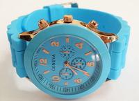 Light Blue Geneva New  Women Dress Watch 2014 Quartz Military Men Silicone Sport Watches Unisex Wristwatch Free Shipping 013