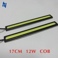 2 X 12V Super Bright White 12W COB LED DRL Driving Daytime Running Lights lamp Aluminum Chip Bar Panel free shipping