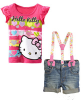 Baby Girl's clothing summer sets Children's clothing sets Hello Kitty cartoon t-shirt +suspenders denim shorts set children sets