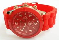 Red Geneva Women Dress Watch 2014 Quartz Military Men Silicone Sport Watches Unisex Wristwatch Free shipping 003