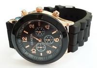 Black Geneva New Women Dress Watch 2014 Quartz Military Men Silicone Sport Watches Unisex Wristwatch Free shipping 014