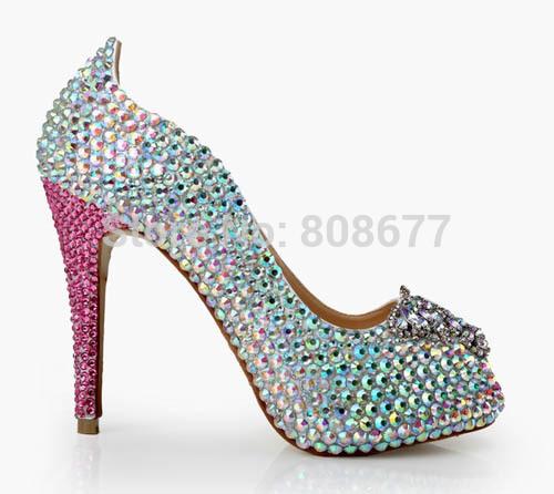 Crystal Rhinestone Perfect Bridals Wedding Dress Shoes Pearl Women Fashion Open Toe Pumps Shoes High Heels Women(China (Mainland))