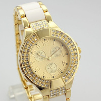 Drop Shipping New 2014 Arrival Women Rhinestone Watches Alloy Watches Analog Digital Women Dress Watches Clock Gold Watches