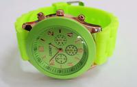 Light Green Geneva New Women Dress Watch 2014 Quartz Military Men Silicone Sport Watches Unisex Wristwatch Free shipping 008