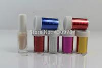Free Shipping Nail Foil Adhensive Glue + 6 Rolls Nail Art Transfer Foil Paper Sticker Gift Set