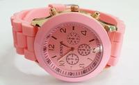 Pink Geneva New Women Dress Watch 2014 Quartz Military Men Silicone Sport Watches Unisex Wristwatch Free shipping 005