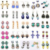 2014 New Arrival Fashionable Jewelry Mix 19 Style Vintage Crystal Dangle Drop Earrings for Women Statement Long Earrings