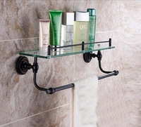 Free shipping Wholesale And Retail Promotion Oil Rubbed Bronze Bathroom Shelf Shower Caddy Cosmetic Glass Shelf W/ Towel Bar