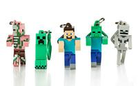 5pcs Minecraft Hangers Steve,Creeper Etc. 3 Inch Action Figure Keychain