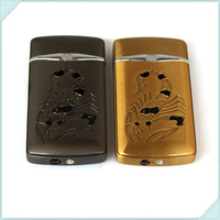 Ultrathin Electroplating Plating Scorpion Pattern Portable Inflatable Cigarette Windproof Lighter With Light Butane Gas