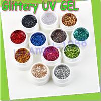 Free shipping!! 12pcs/set Glittery UV GEL Extension DIY Builder Nail Art glitter powder