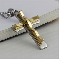 Fashion pendant personalized wavy surface double cross pendant necklace