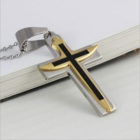Wholesale Minimalist style titanium steel cross pendant necklace neutral
