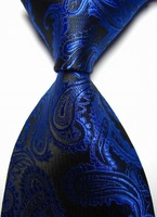 New Royal Blue Paisley JACQUARD WOVEN Men's Tie Necktie Free Shipping