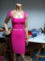 2014 New arrival Women's hot pink short sleeve Bandage Dress HL  Evening Dresses HL dropship and wholesale