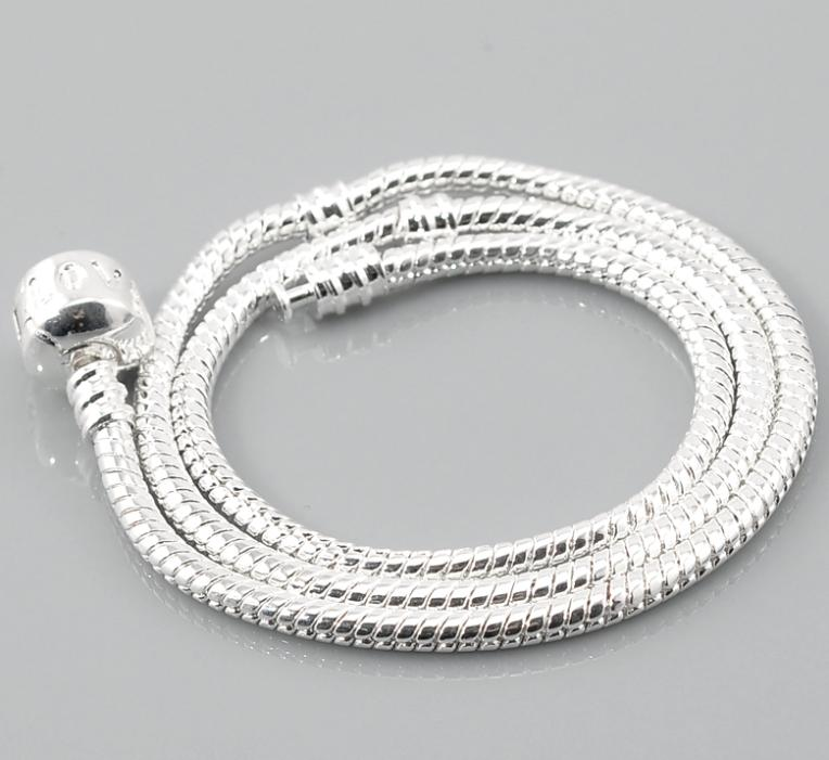 "Free Shipping 2 Silver Plated ""Love"" Snap Clasp Snake Chain European Charm Necklaces 19 5/8""(China (Mainland))"