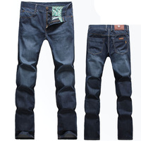 Free shipping 2014 new men's cotton pants men crushed stone washed denim trousers straight men's jeans big luxury brands