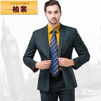 men suits set jacket pant  Male suit slim blackish green men's formal dress clothes male