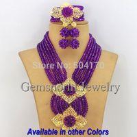 Latest New Purple African Beads Bridal Jewelry Set Classic Nigerian Wedding Crystal Jewelry Set Free Shipping GS038-2