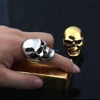 Men's Huge Gothic Punk Biker Motorbike Motorcycle Rider 316L Stainless Steel Skull Head Knuckle Ring Halloween Prop Wholesale