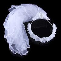 Limited Seconds Kill White One-layer Veils Wedding Ruili Stylish Elegance Bow Bridal Veil Headdress Appliqued Lace Cotton