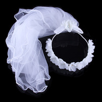 Limited Seconds Kill White One-layer Veils Wedding Ruili Stylish Elegance Bow Bridal Veil Headdress Appliqued Lace Cotton
