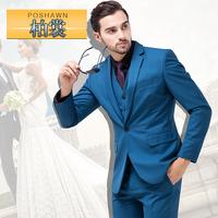 men suit 3 pce /set  jacket pant vest vavy blue wedding Male formal dress classic slim Dark Blue men's suit set men's clothing