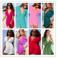 2014 New Hot!!! Nobel Women's Sexy Deep-V Neck Bikini Cover Up Dress Sarong Swimwear Beach Wear 10 colour FREE SHIPPING