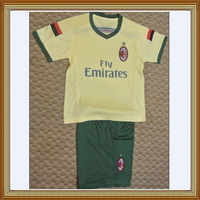 Free Shipping!!!14/15 AC Milan Third Kids Yellow Soccer Jersey, Embroidery logo AC Milan Kids Uniform,Children soccer jersey