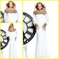 2014 Hot Arabic Style White Chiffon Long Sleeves Trumpet Mermaid Evening Dresses Gowns Dubai Kaftan Dresses For Muslim Women